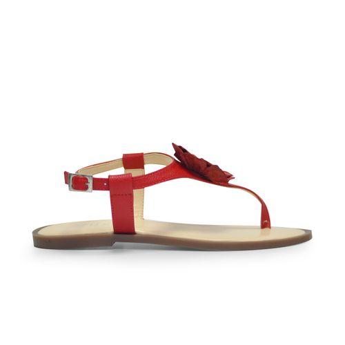 Sandalia-plana-de-color-rojo