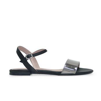 Sandalia-plana-de-color-negro