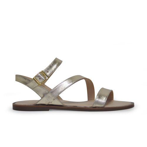 Sandalia-plana-de-color-oro
