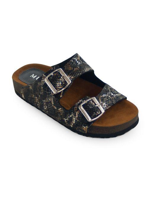 Sandalia-plana-de-cuero-negro-texturado